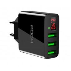 USB адаптер живлення ROCK 5V / 3A (3-ри портовий)